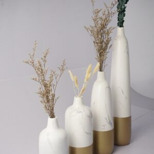 Natural Stoneware Vases 4Set (White - Gold)