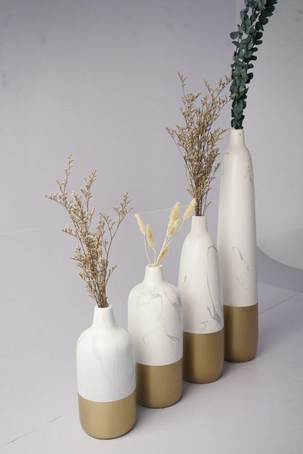 Natural Stoneware Vases 4Set (White - Gold)
