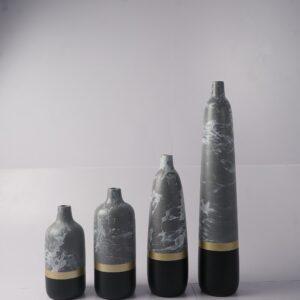 Half-Dipped Stoneware Vases 4set (Black-Gold)