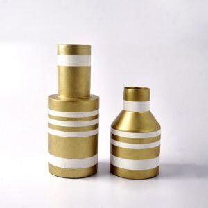Bessette Striped Vase (Gold-White)