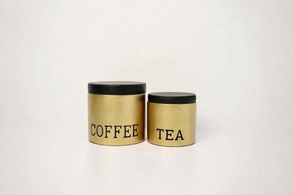 Coffee - Tea Stoneware Canister (Gold-Black)